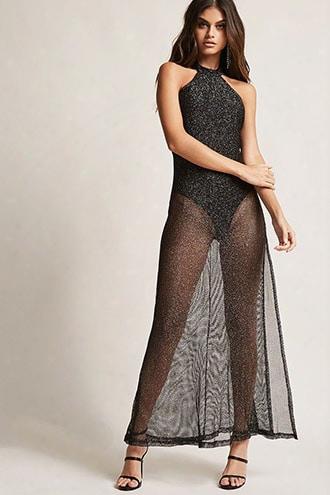 Metallic Sheer Mesh Dress