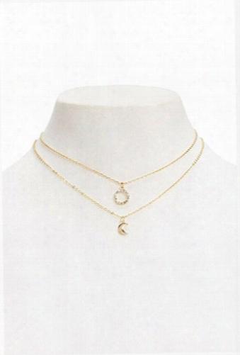 Moon & Circle Pendant Necklace Set
