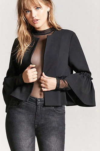 Open-front Ruffle Sleeve Jacket