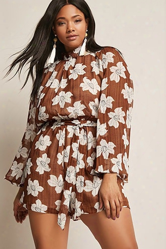 Plus Size Floral Mock Neck Romper