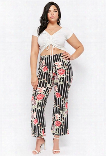 Plus Size Floral Striped Pants
