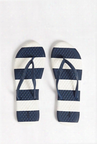 Qupid Striped Sole Flip Flops