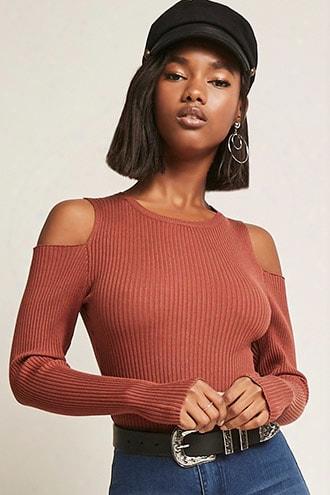 Ribbed Knit Open-shoulder Bodysuit