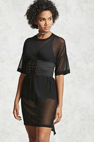 Sheer Corset T-shirt Dress