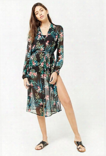 Sheer Floral Print Shirt Tunic
