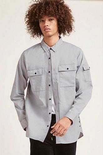 Slim-fit Button-hem Shirt