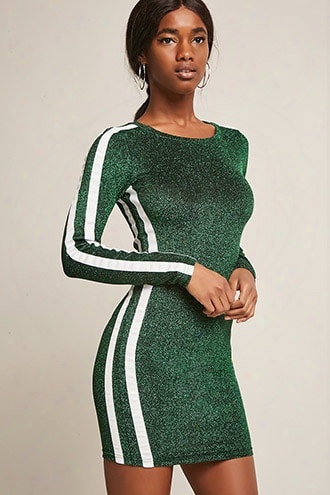Stripe-trim Metallic Bodycon Dress