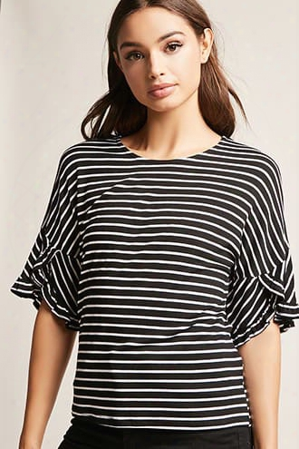 Striped Ruffle-sleeve Top