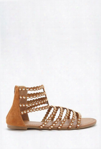 Studded Faux Suede Gladiator Sandals