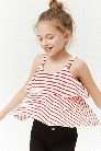 Girls Striped Flounce Top (Kids)