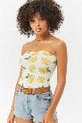 Strapless Lemon Print Bodysuit