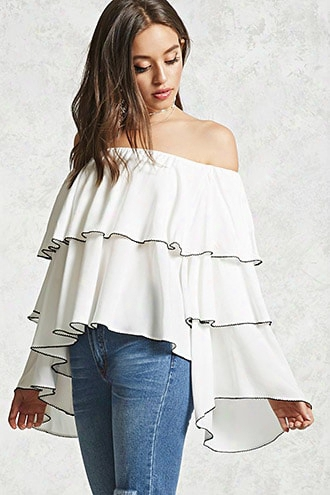 Tiered Off-the-shoulder Blouse