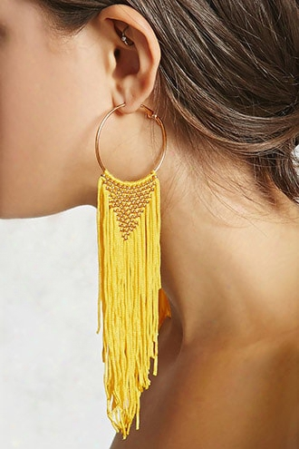Woven Fringe Hoop Earrings