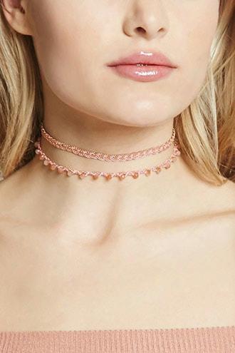 Chain-link Iridescent Choker Set