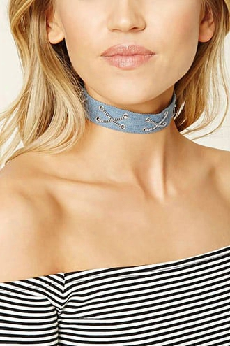 Crisscross Chain Denim Choker