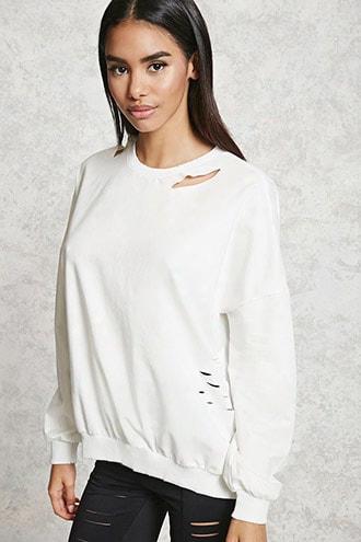 Distressed Cutout Sweatshirt