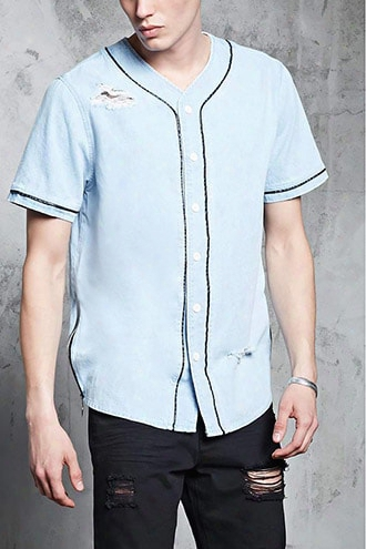 Distressed Denim Baseball Shirt
