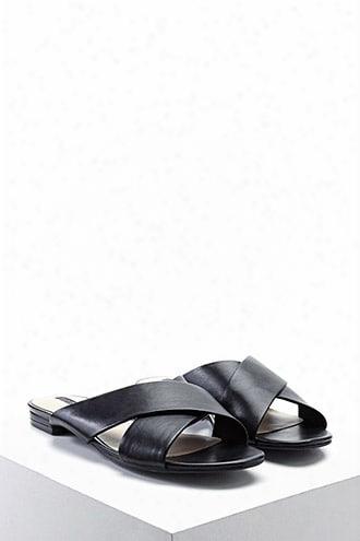 Faux Leather Crisscross Slides