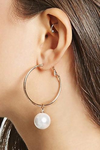 Faux Pearl Hoop Earrings