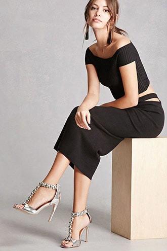 Metallic Studded T-strap Heels