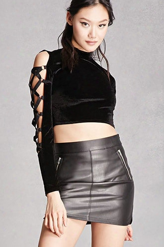 Rehab Strappy Velvet Crop Top