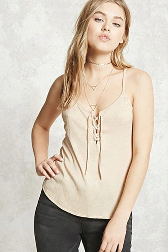 Ribbed Lace-up Cami