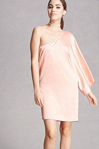 Satin One-shoulder Dress
