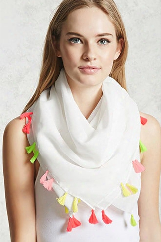 Tassel-trim Oblong Scarf