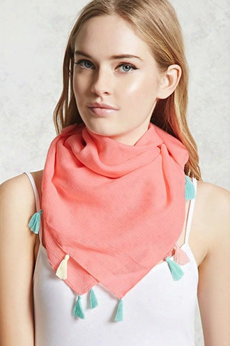 Tassel-trim Textured Scarf