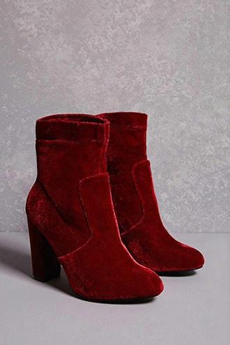 Yoki Velvet Ankle Sock Boots