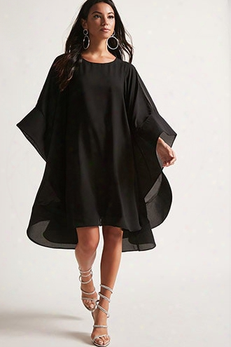 Angel-sleeve Chiffon Dress