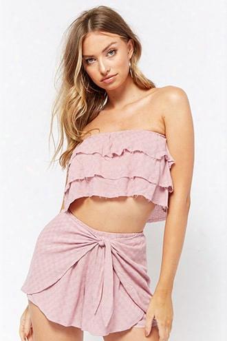 Checkered Linen-blend Crop Top & Short Set