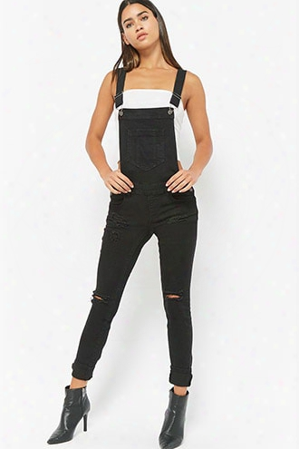 Distressed Stretch-denim Overalls