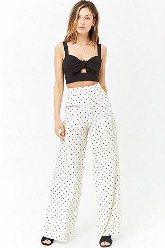 Dot Print Wide-leg Pants