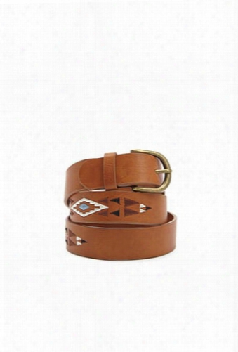 Embroidered Faux Leather Belt