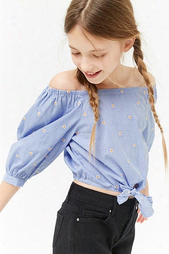 Girls Embroidered Pinstripe Off-the-shoulder Top (kids)