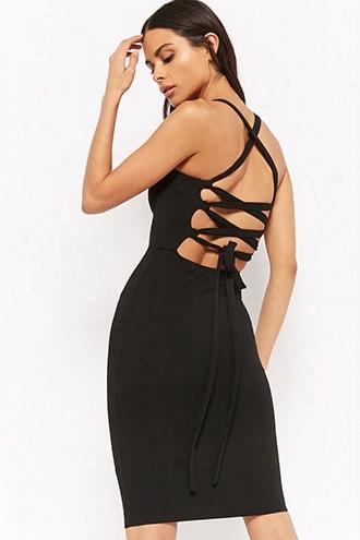 Lace-up Square-neck Dress