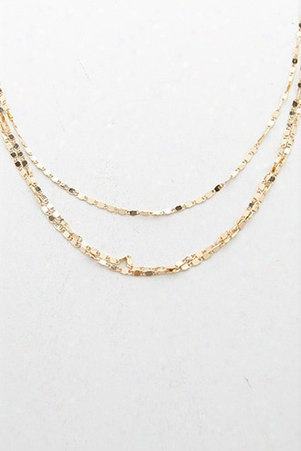 Layered Hammered Link Chain Necklace