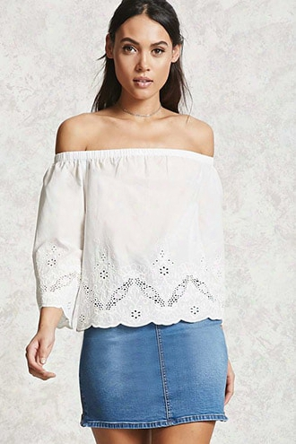 Off-the-shoulder Eyelet Top