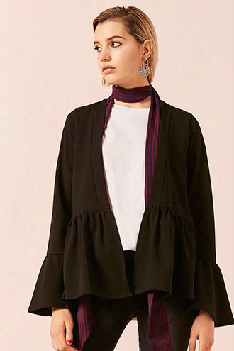 Open-front Ruffle Trim Jacket