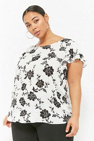 Plus Size Floral Tiered-sleeve Top