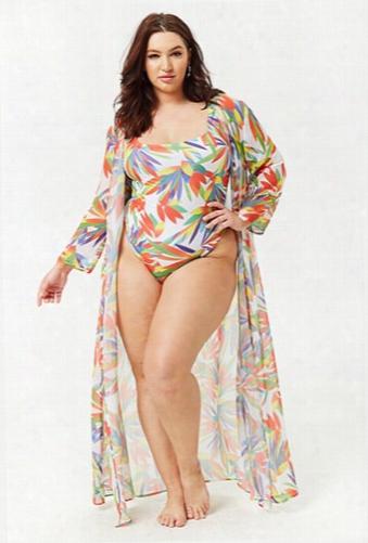 Plus Size M By Monif C. Abridge Tropical Kimono
