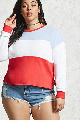 Plus Size Raw-trim Sweatshirt
