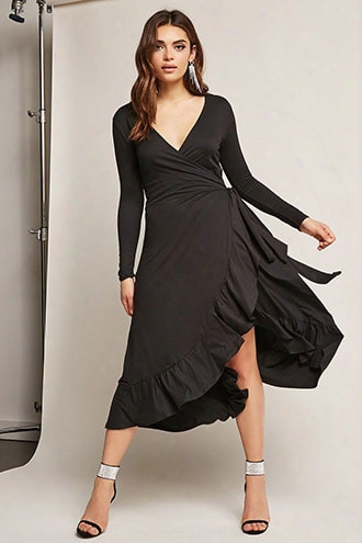 Ruffle Wrap Midi Dress