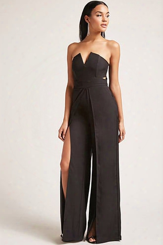 Strapless Split-leg Jumpsuit