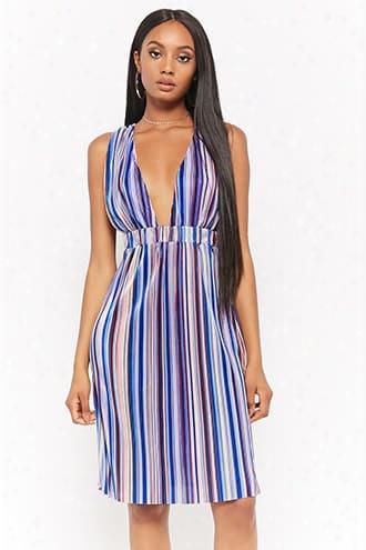 Striped Micro-pleated Dress