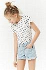 Girls Pinstriped Denim Shorts (Kids)