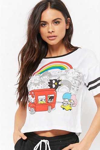 Varsity-striped Hello Kitty Graphic Tee