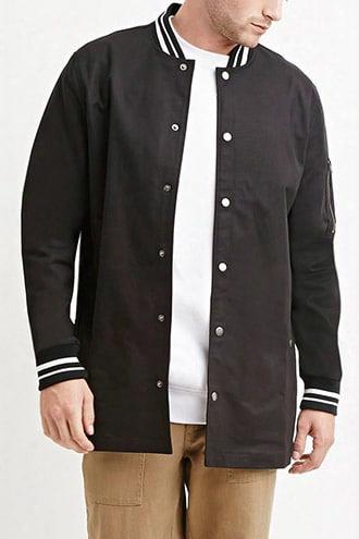 Varsity-striped Longline Jacket