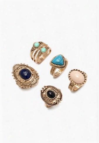 Burnished Stone-center Ring Set